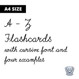 Cursive A-Z Flashcards with 4 examples