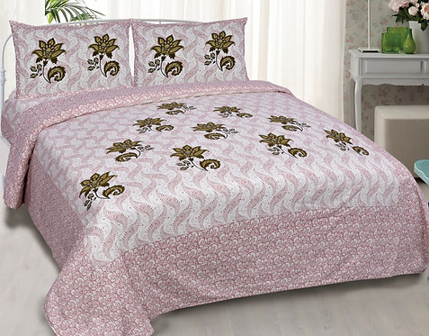 Intricate Pink Color Floral Print Cotton King Size Bedsheet with 2 Pillow Cover