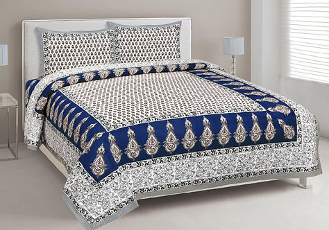 Staring White-Blue Colored Print Cotton King Size Bedsheet with 2 Pillow Cover