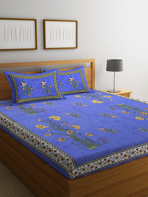 Exceptional Blue Colored Printed Cotton Double Bedsheet with 2 Pillow Cover