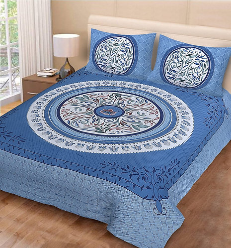 Delightful Blue Colored Print Cotton Double Bedsheet with 2 Pillow Cover