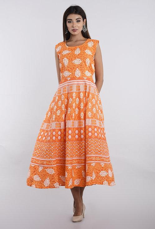 Orange Colored Casual Wear Printed Cotton Kurti