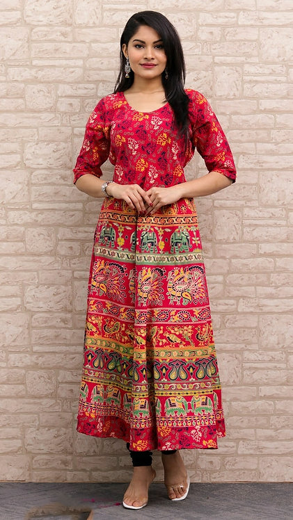 Red Colored Casual Wear Printed Cotton Kurti