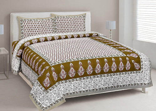 Dazzling White-Brown Colored Print Cotton King Size Bedsheet with 2 Pillow Cover