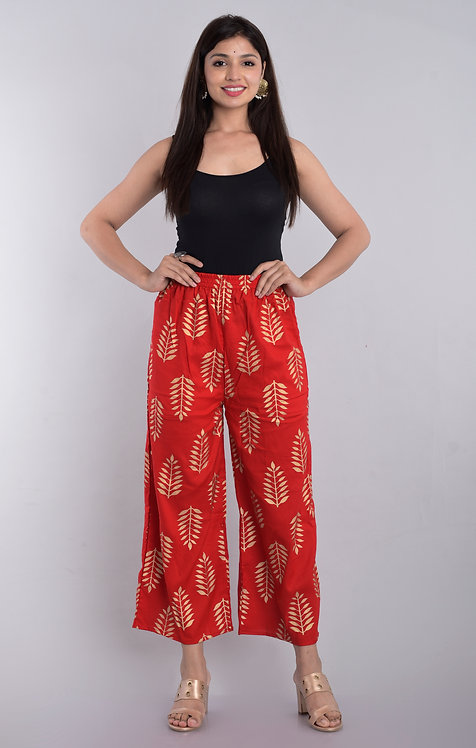Red Colored Casual Wear Printed Rayon Palazzo
