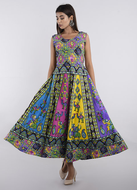 Multi Colored Casual Wear Printed Cotton Kurti