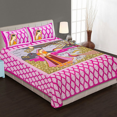 Ethnic Pink Colored Printed Cotton Double Bedsheet With 2 Pillow Cover