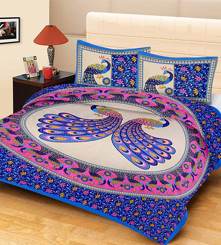 Flaunt Multicolour Colored Printed Cotton Double Bedsheet With 2 Pillow Cover