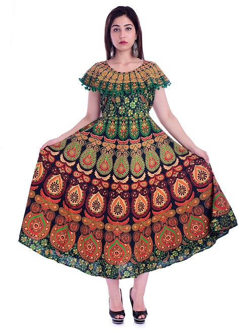 Green Colored Casual Wear Printed Cotton Kurti
