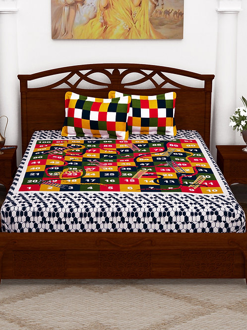 Intricate Multi Colored Printed Cotton Double Bedsheet with 2 Pillow Cover