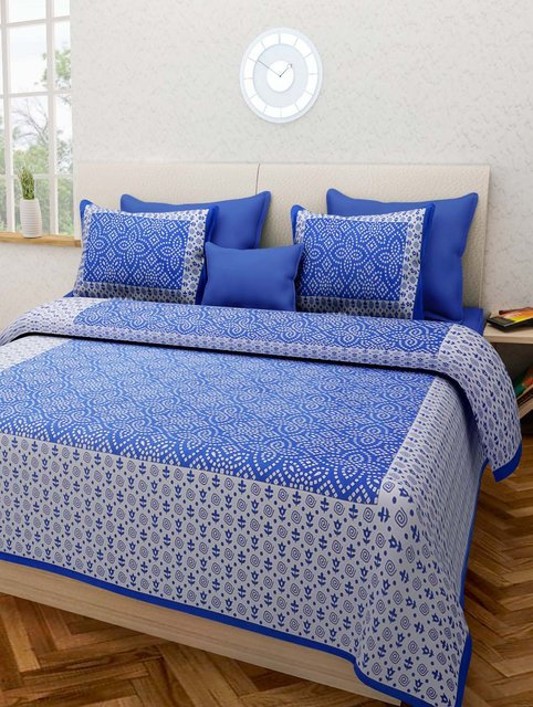 Ravishing Blue Colored Printed Cotton Double Bedsheet With 2 Pillow Cover