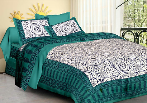 Unique Green Colored Printed Cotton Double Bedsheet with 2 Pillow Cover