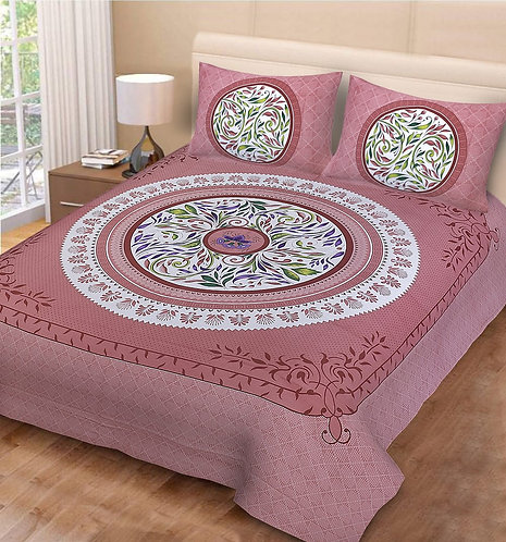 Engrossing Mauve Colored Print Cotton Double Bedsheet with 2 Pillow Cover