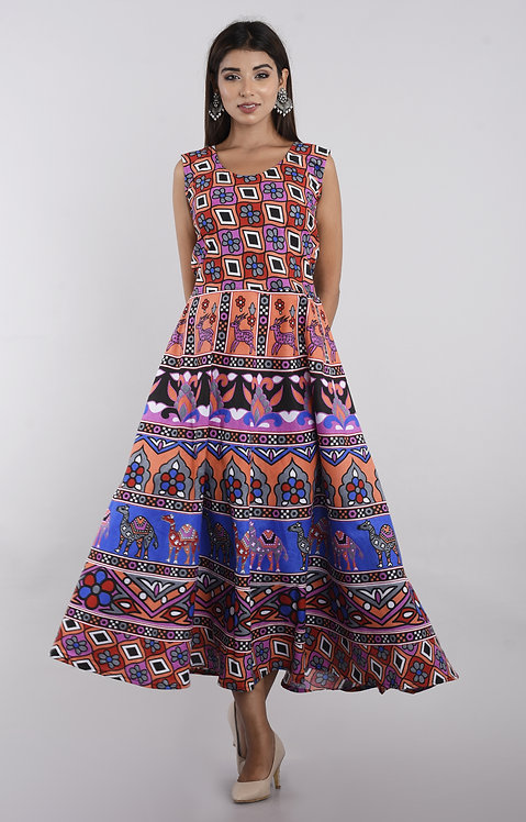Multi Colored Casual Wear Printed Cotton Kurti