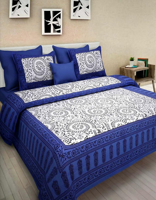 Captivating Blue Colored Printed Cotton Double Bedsheet With 2 Pillow Cover