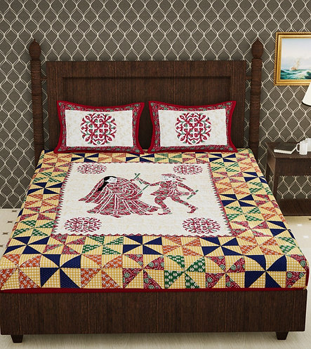 Red Colored Jaipuri Print Cotton Double Bedsheet with 2 Pillow Cover