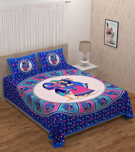 Attractive Blue Colored Print Cotton Double Bedsheet with 2 Pillow Cover