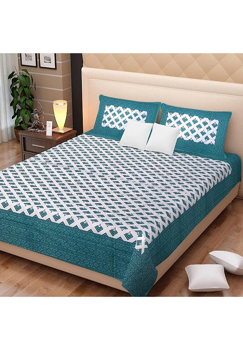 Groovy Green Colored Printed Cotton Double Bedsheet With 2 Pillow Cover