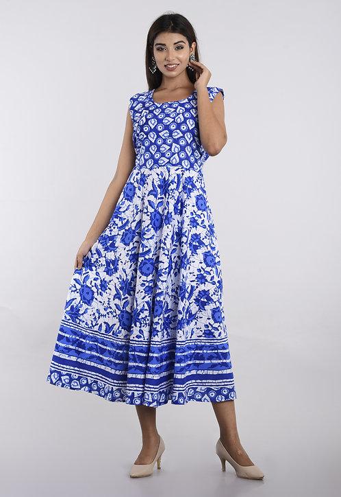 Blue Colored Casual Wear Printed Cotton Kurti