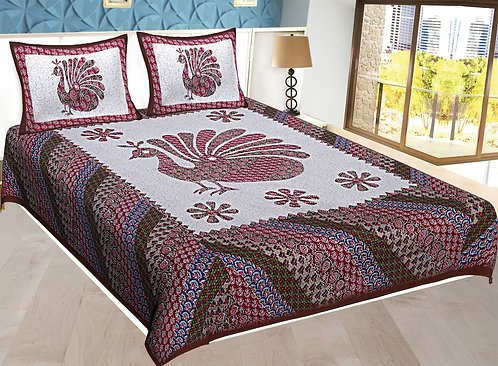 Maroon Colored Jaipuri Print Cotton Double Bedsheet with 2 Pillows