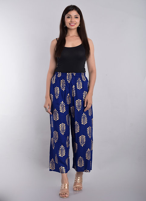 Blue Colored Casual Wear Printed Rayon Palazzo