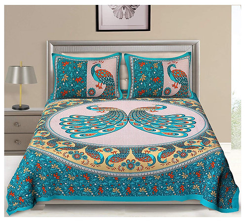 Marvellous Green Colored Printed Cotton Double Bedsheet With 2 Pillow Cover
