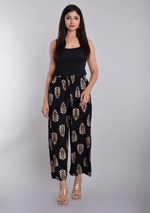 Black Colored Casual Wear Printed Rayon Palazzo