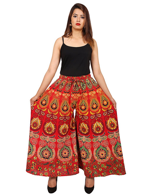 Red Colored Casual Wear Printed Cotton Palazzo