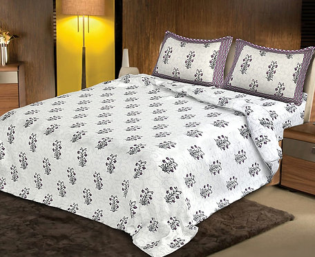 Flattering White Colored Floral Print Cotton King Size Bedsheet with 2 Pillow