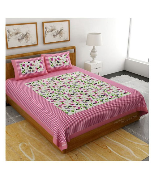 Charming Pink Colored Printed Cotton Double Bedsheet With 2 Pillow Cover