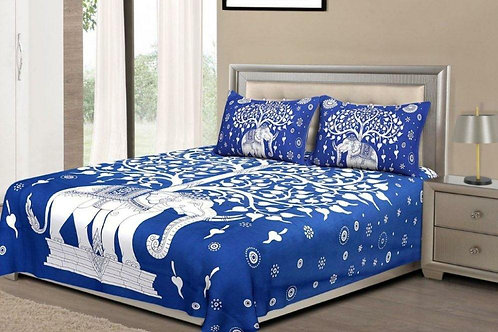 Desirable Blue Colored Printed Cotton Double Bedsheet with 2 Pillow Cover