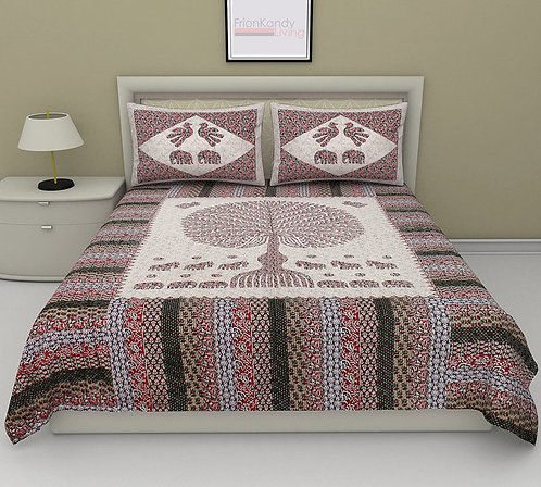 Classy Multicolour Colored Printed Cotton Double Bedsheet With 2 Pillow Cover