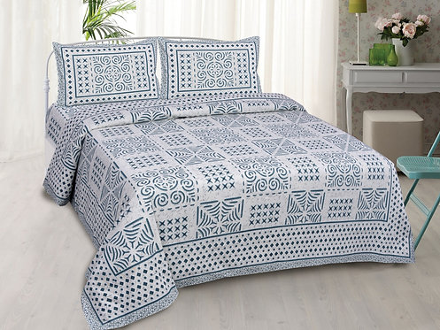 Diva Collection - Blue Colored Jaipuri Print Cotton King Bedsheet with 2 Pillow
