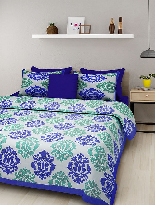 Breathtaking Blue Colored Print Cotton King Size Bedsheet with 2 Pillow Cover