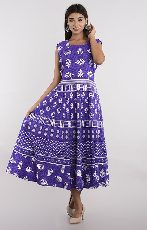 Purple Colored Casual Wear Printed Cotton Kurti