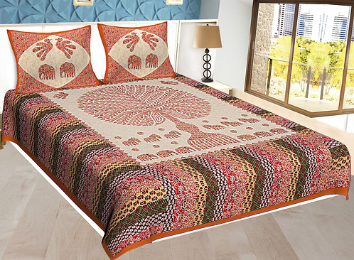 Orange Colored Jaipuri Print Cotton Double Bedsheet with 2 Pillow Cover