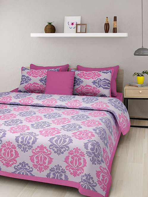 Ethnic Pink Colored Print Cotton King Size Bedsheet with 2 Pillow Cover