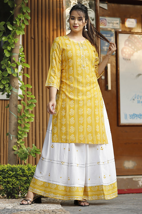 Diva Collection- Designer Yellow Color Kurti with Skirt in Rayon Fabric