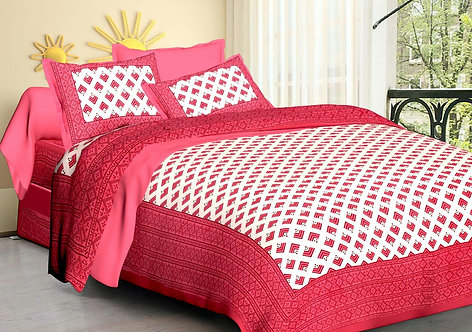 Hypnotic Pink-White Colored Printed Cotton Double Bedsheet with 2 Pillow Cover