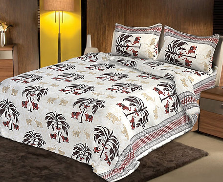 Pleasant Cream Colored Elephant Print Cotton King Size Bedsheet with 2 Pillow