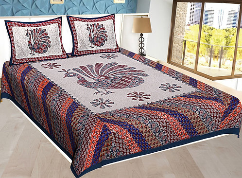 Blue Colored Jaipuri Print Cotton Double Bedsheet with 2 Pillow Cover