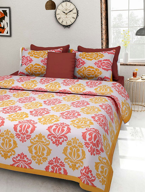 Ravishing Yellow Colored Print Cotton King Size Bedsheet with 2 Pillow Cover