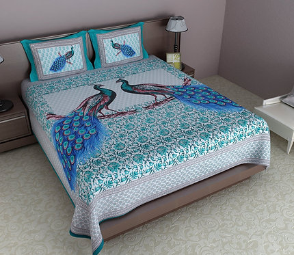 Arresting Multi Colored Printed Cotton Double Bedsheet with 2 Pillow Cover
