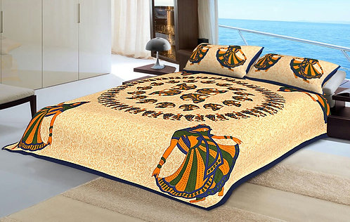 Energetic Yellow Colored Print Cotton King Size Bedsheet with 2 Pillow Cover