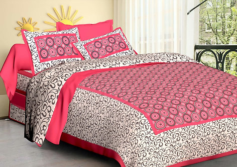 Refreshing Pink Colored Printed Cotton Double Bedsheet with 2 Pillow Cover