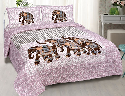 Pleasance Pink Colored Animal Print Cotton King Size Bedsheet with 2 Pillow