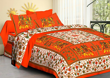 Excellent Pink Colored Printed Cotton Double Bedsheet with 2 Pillow Cover