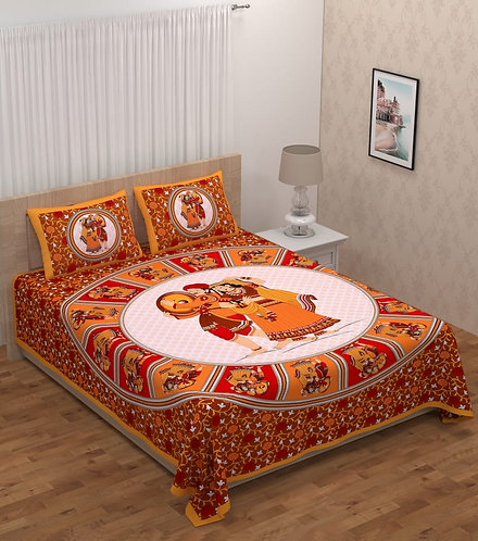 Adorable Yellow Colored Print Cotton Double Bedsheet with 2 Pillow Cover