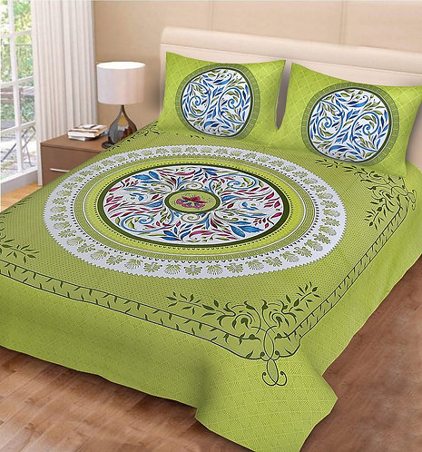 Captivating Green Colored Print Cotton Double Bedsheet with 2 Pillow Cover