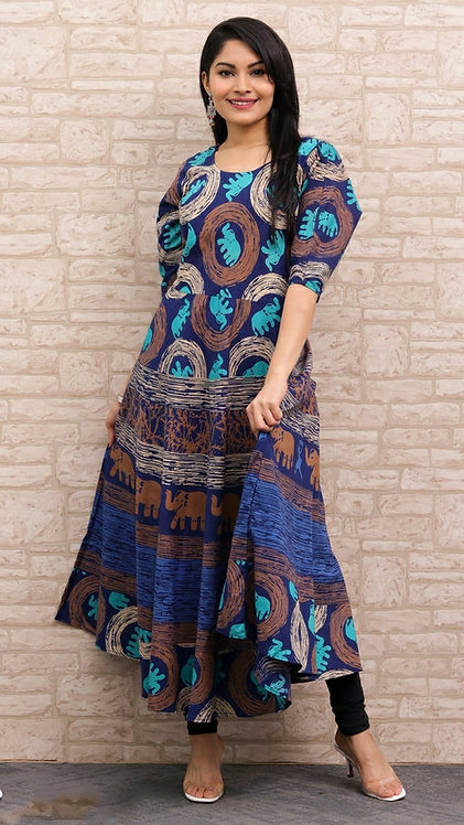 Blue Colored Casual Wear Printed Cotton Kurti